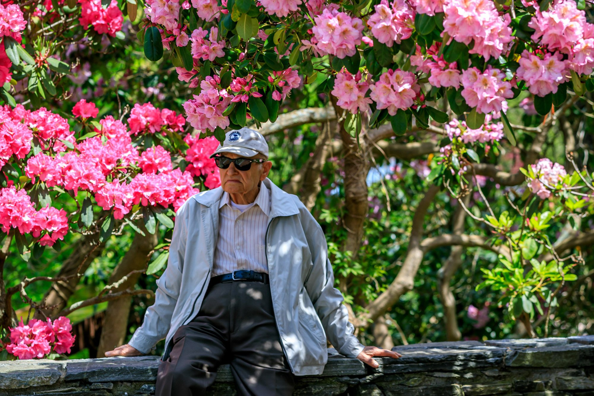 Man at Heritage with flowers